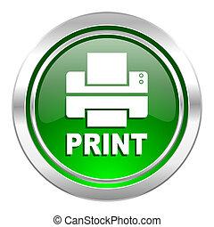 printer icon, green button, print sign