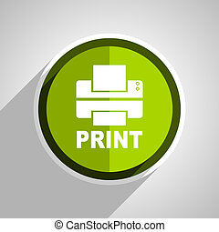 printer icon, green circle flat design internet button, web and mobile app illustration