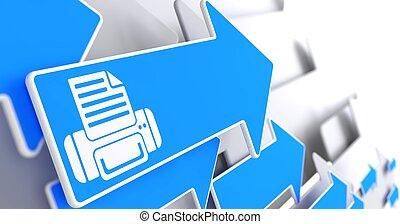 Printer Icon on Blue Arrow.
