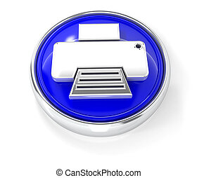 Printer icon on glossy blue round button