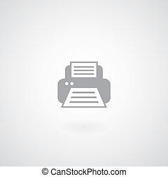 Printer icon on gray background