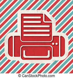 Printer Icon on Striped Background.