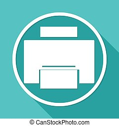 Printer icon on white circle with a long shadow