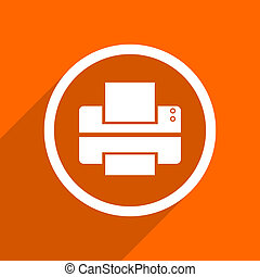 printer icon. Orange flat button. Web and mobile app design illustration