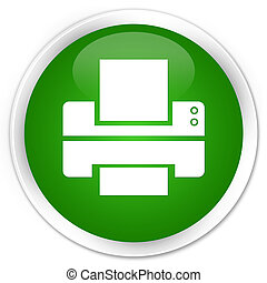 Printer icon premium green round button