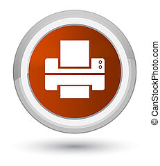 Printer icon prime brown round button