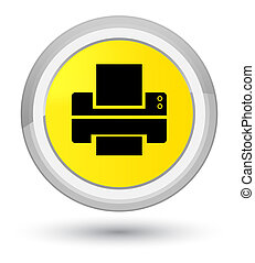 Printer icon prime yellow round button