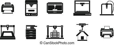 Printer icon set, simple style