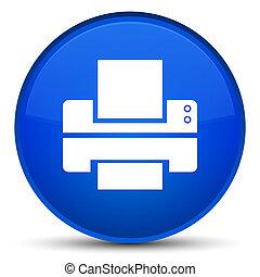 Printer icon special blue round button