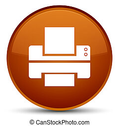 Printer icon special brown round button