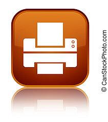 Printer icon special brown square button
