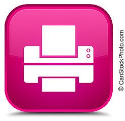 Printer icon special pink square button