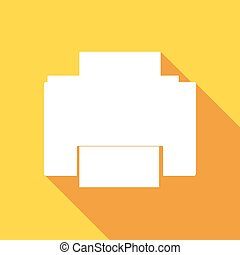 Printer icon with a long shadow