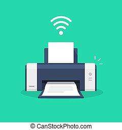 Printer icon with wifi wireless symbol or ink jet fax wi-fi ...
