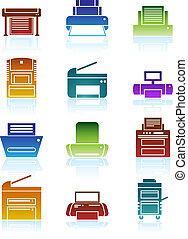 Set of bright colorful themed computer printer icon buttons.