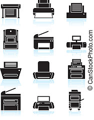 Set of black and white themed computer printer icon buttons.