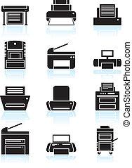 Printer Icons Line Art - Set of black and white themed...