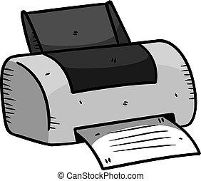 printer, in, doodle, stijl