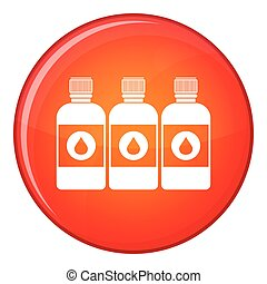 Printer ink bottles icon, flat style
