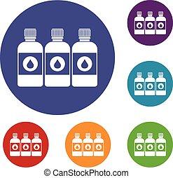 Printer ink bottles icons set