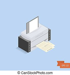 Printer isometric on blue background. Vector. Isometric office printed machine with paper sheet and documents. Isolated on white. Easy to edit illustration. Flat simple style
