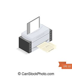 Printer isometric on white background. Vector. Isometric office printed machine with paper sheet and documents. Isolated on white. Easy to edit illustration. Flat simple style