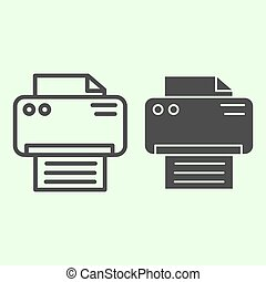 Printer line and solid icon. Office laser-jet print machine ...