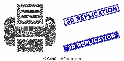 Printer Mosaic and Distress Rectangle Seals