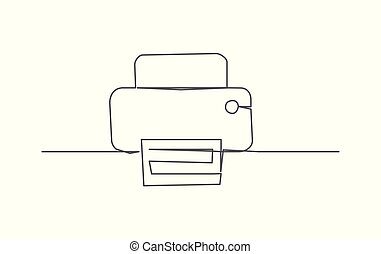 Printer One line drawing