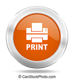 printer orange icon, metallic design internet button, web and mobile app illustration