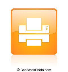 printer orange square glossy web icon