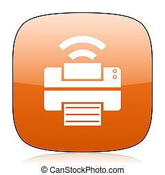 printer orange square web design glossy icon