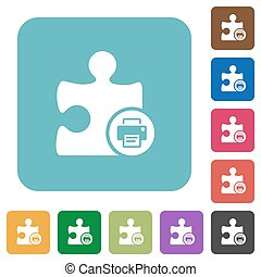 Printer plugin rounded square flat icons