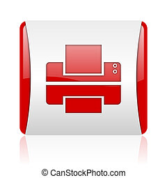 printer red and white square web glossy icon