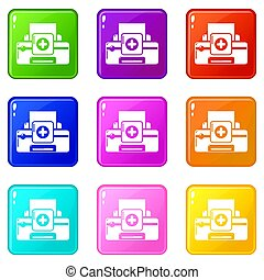 Printer repair icons set 9 color collection