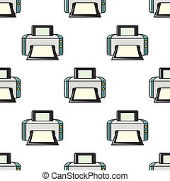 Printer seamless pattern in cartoon style isolated on white background vector illustration