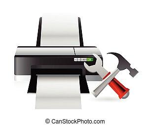 printer setting tools illustration design over a white...