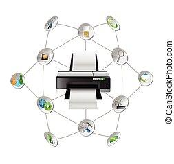 printer settings tools diagram illustration design over...