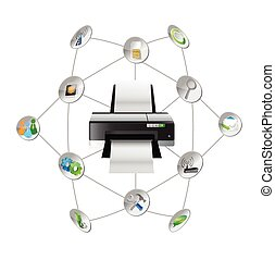 printer settings tools diagram illustration design over ...