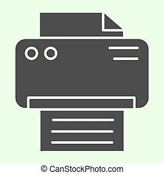 Printer solid icon. Office laser-jet print machine glyph ...