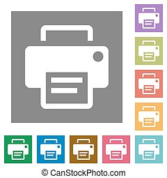 Printer square flat icons