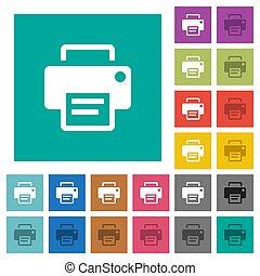 Printer square flat multi colored icons