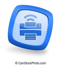 printer square glossy blue web design icon