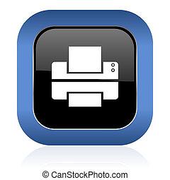 printer square glossy icon print sign