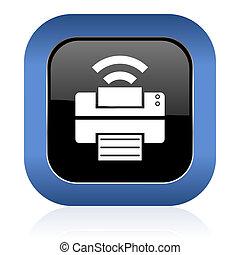printer square glossy icon wireless print sign