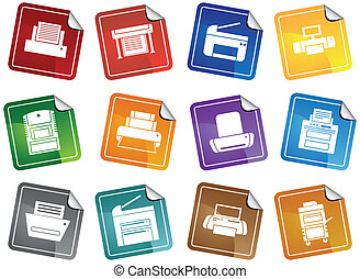 Printer Sticker Icons Color