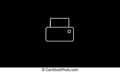 Printer Thin Icon With Alpha Channel