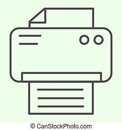 Printer thin line icon. Office laser-jet print machine ...