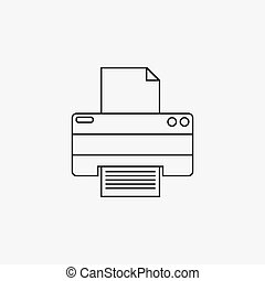 Printer thin line icon, outline vector logo illustration, linear