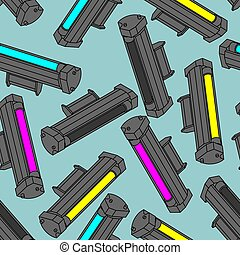 Printer toner cartridge CMYK pattern seamless. Cyan and ...
